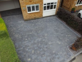 Driveway installed in Hazel Grove using Bradstone Woburn in graphite
