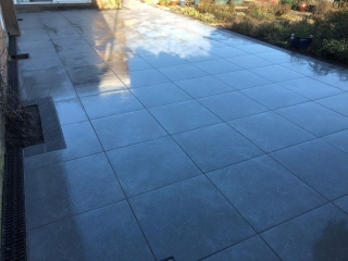 New patio using Marshall's symphony and is a porcelain tile